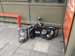 Dumped pram at bus stop, 28th August
